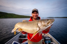 Trevor Montgomery with a nice lake trout from our second night.